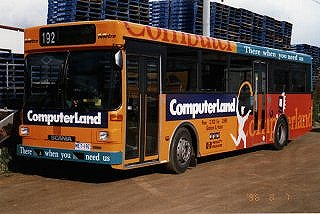 Advertising for computer companies has appeared on several buses in Metro's fleet - here is bus 192 with advertising for Computerland.