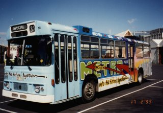 Bus 52 carrying advertising for Metro; 1993