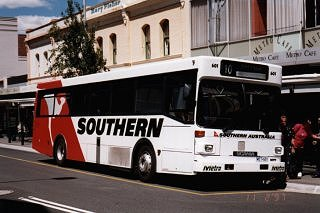 Bus 601 brightly advertising a local Qantas subsidiary, Southern Airlines